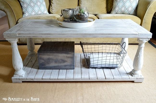 Restoration Hardware knock off salvaged wood balustrade coffee table tutorial.