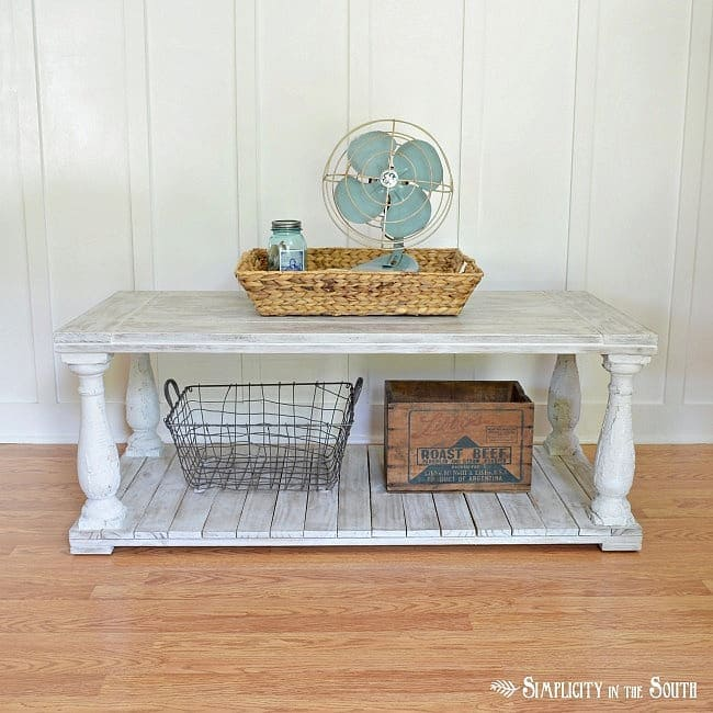 Salvaged wood baluster coffee table inspired by Restoration Hardware.