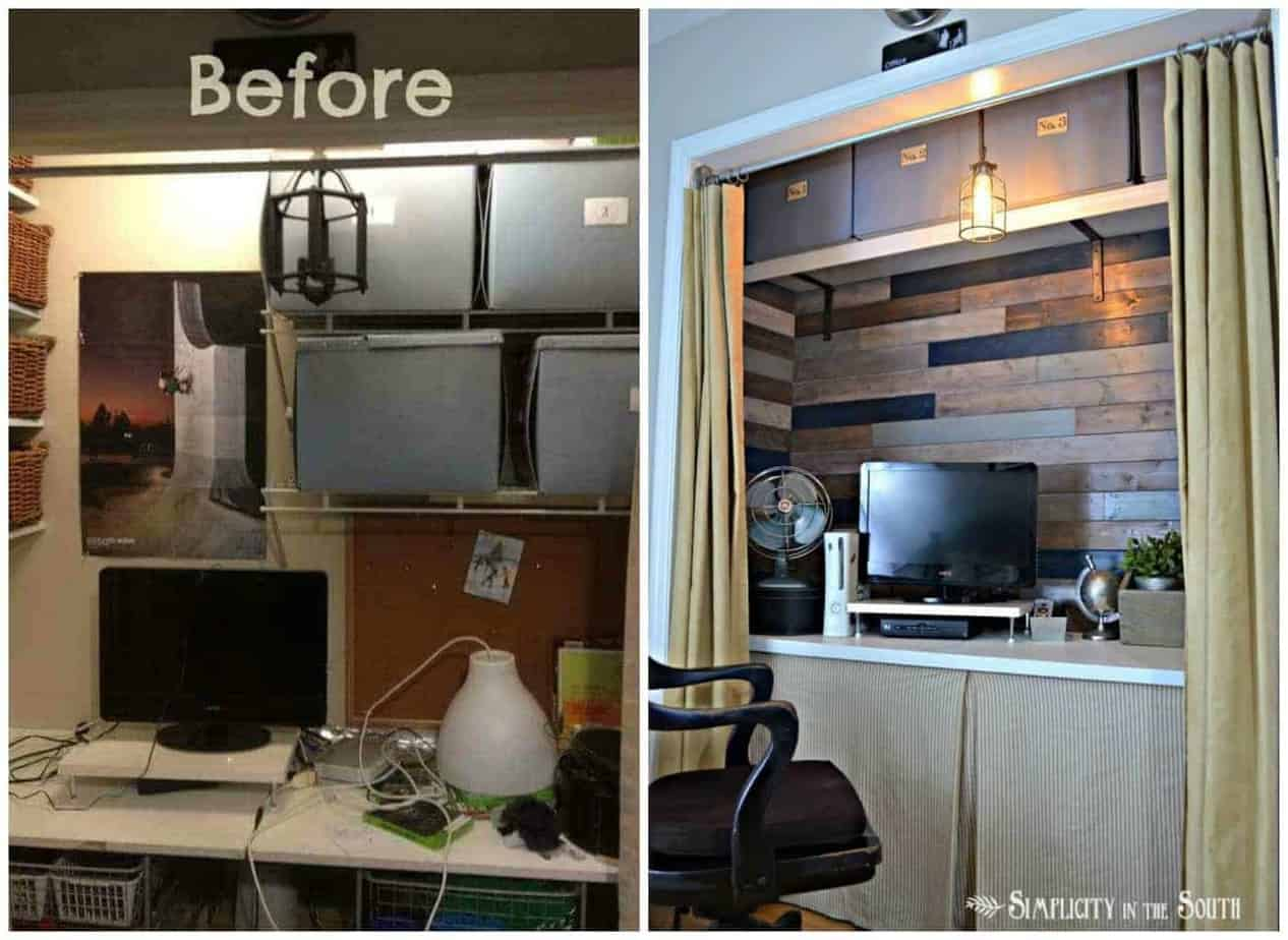 before and after rustic industrial office-in-a-closet