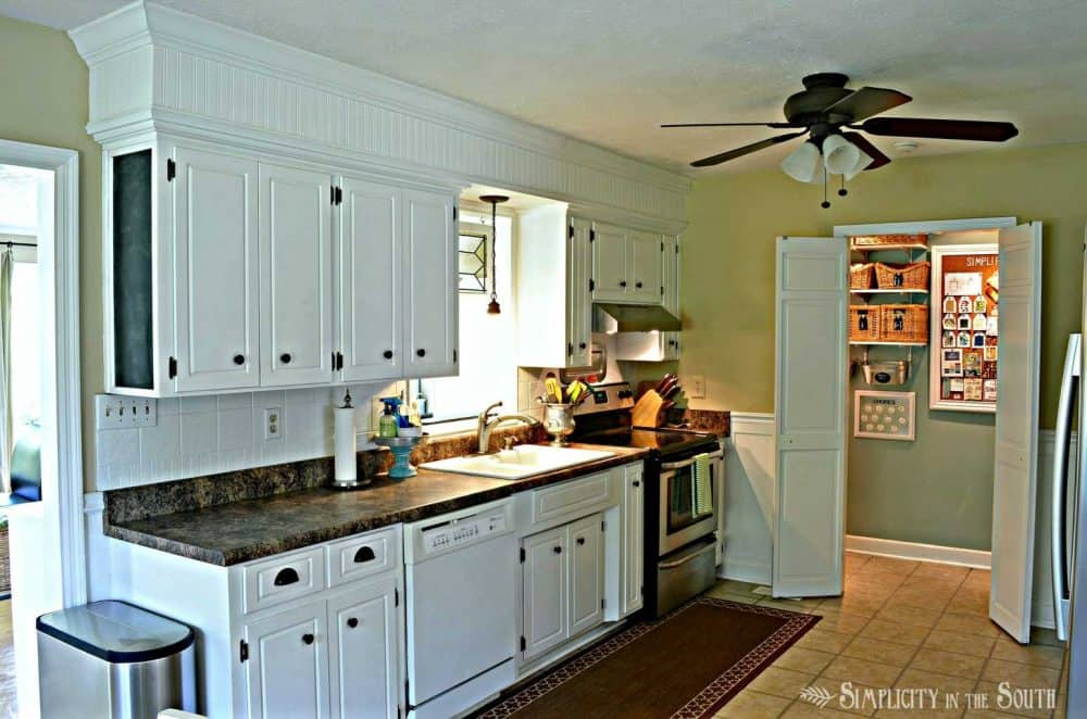 white kitchen with beadboard soffits