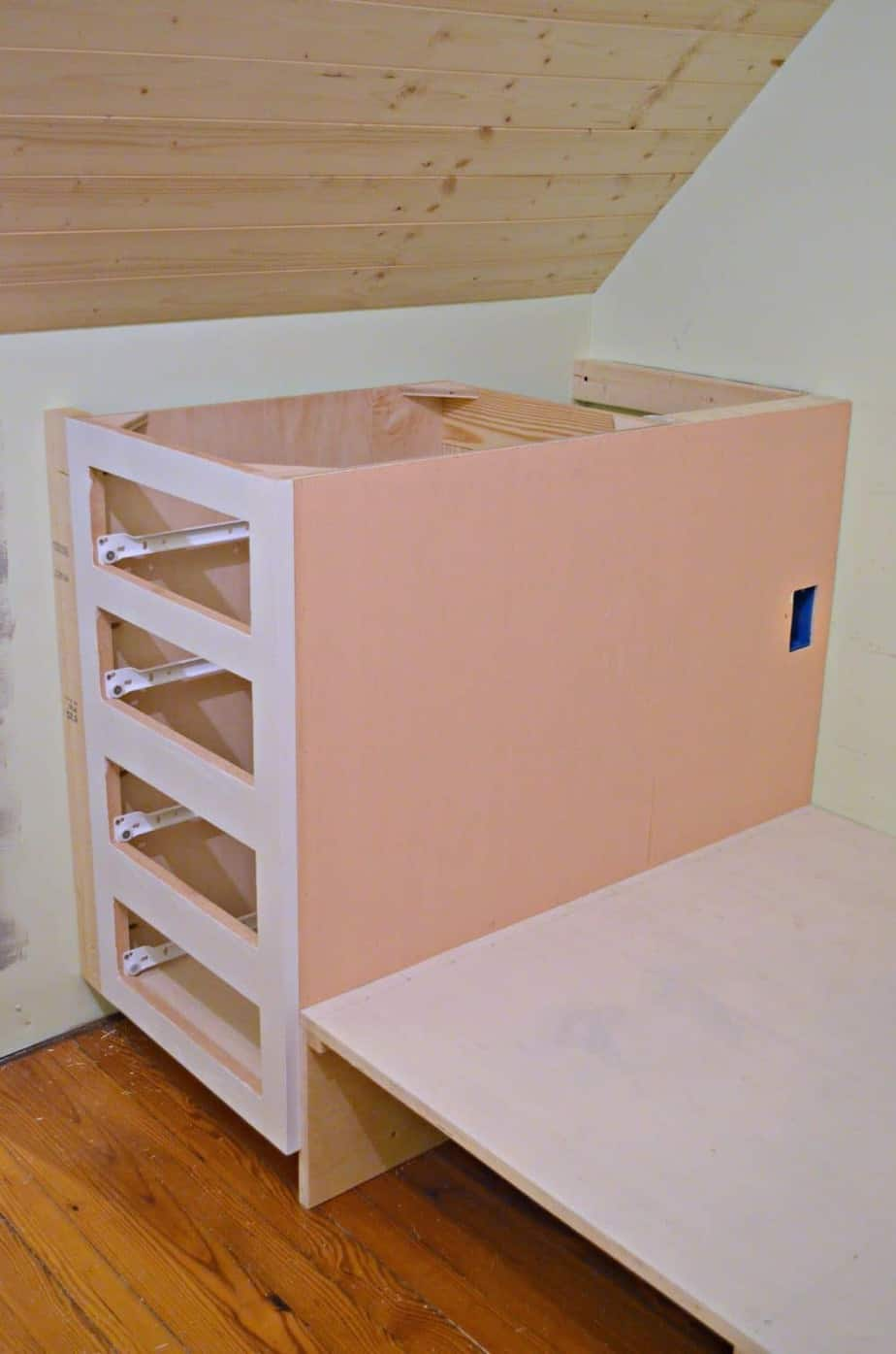 How to make a built-in bed using stock kitchen cabinets
