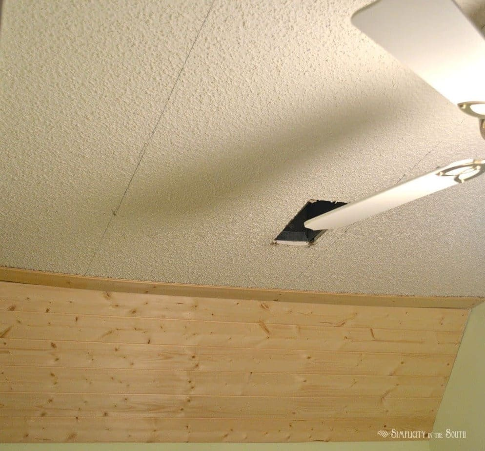 how to get rid of popcorn ceilings by covering with planking