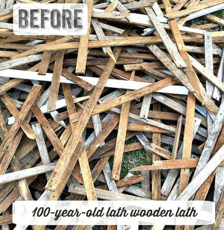 salvaged wood lath strips