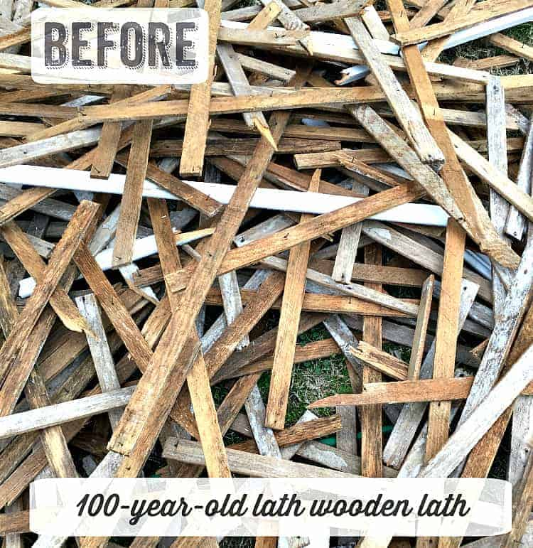 salvaged wood lath strips