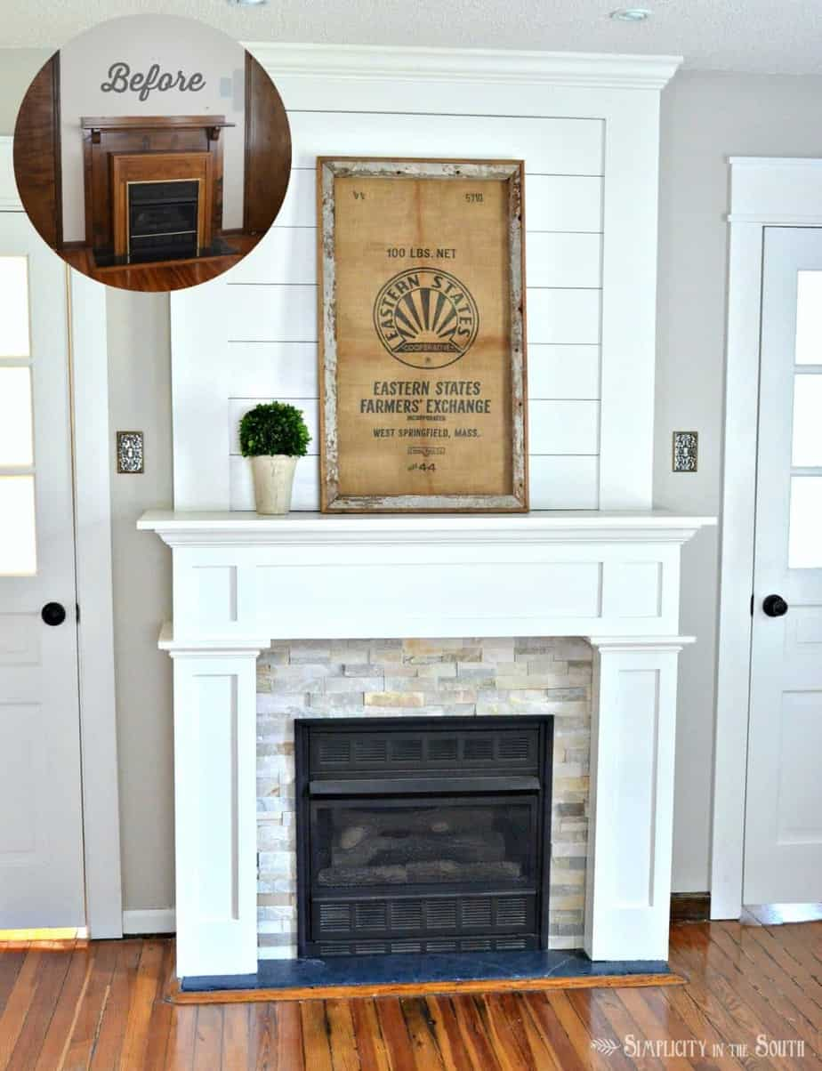 Outstanding Diy Budget Fireplace Surround Makeover From The Boring Home Interior And Landscaping Mentranervesignezvosmurscom