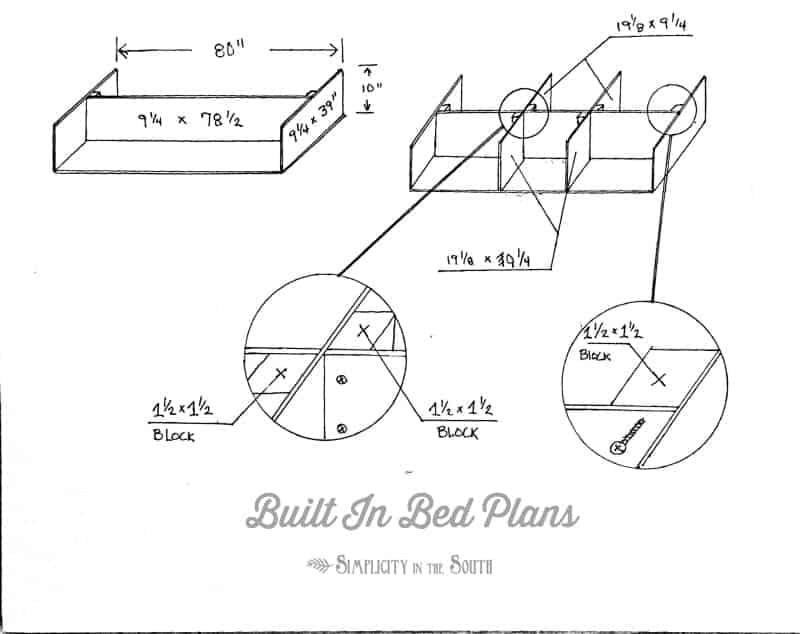 DIY platform bed frame plans- how to make a built in bed