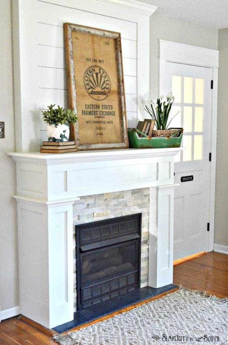 Simplicity in the South Spring home tour- fireplace mantel decorated for spring
