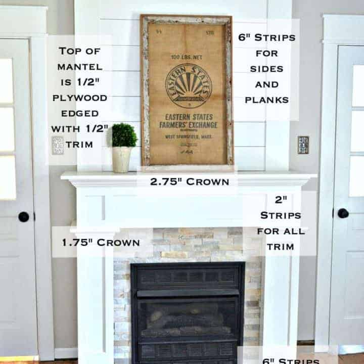 Trim work on a simple farmhouse style fireplace surround with shiplap
