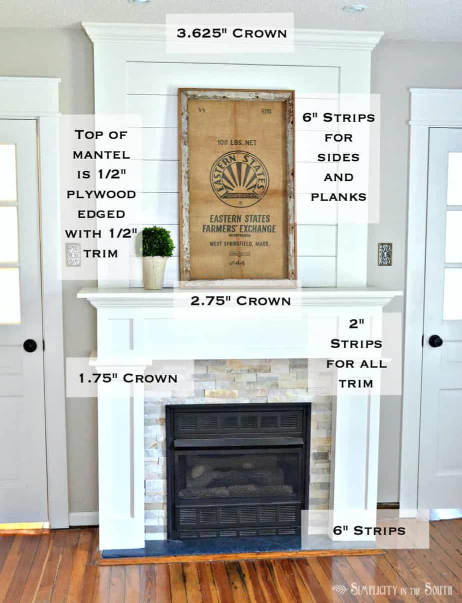 Trim work on a simple farmhouse style fireplace surround with shiplap. Such an easy way to do a DIY farmhouse style fireplace makeover on a budget with shiplap above the mantle and using stone tile and ply wood. You should see the before and after pictures!