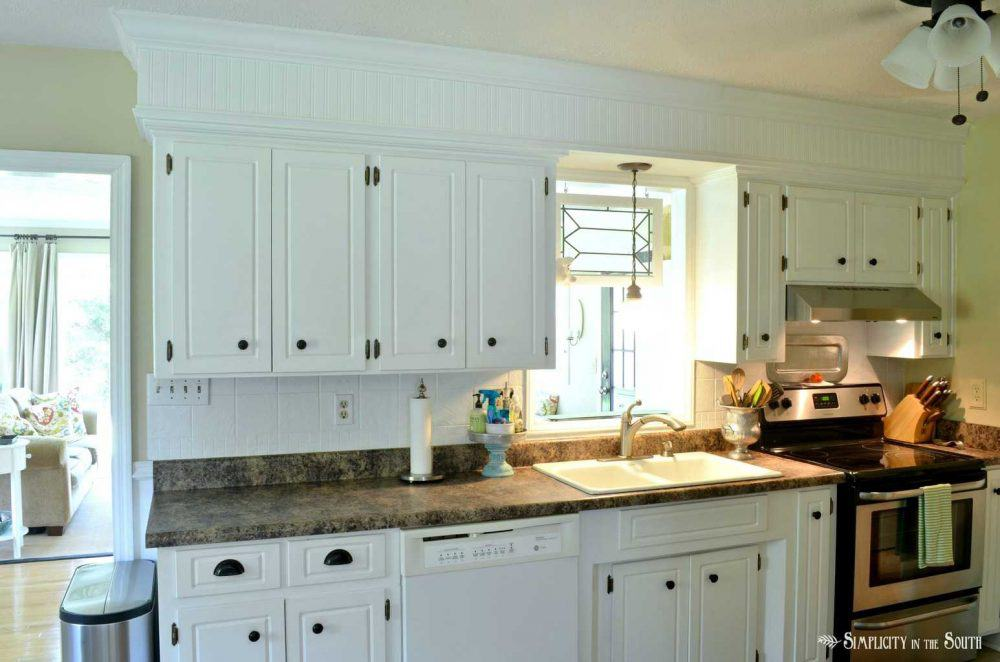 kitchen with beadboard soffits
