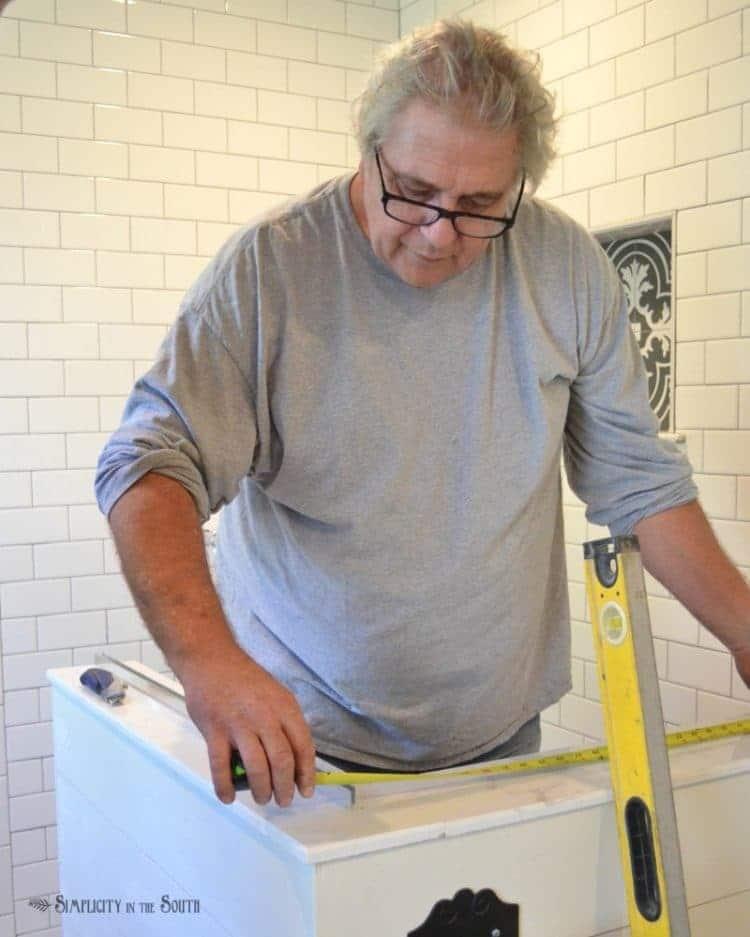 Eclectic Farmhouse DetailsGlass shower enclosure installation
