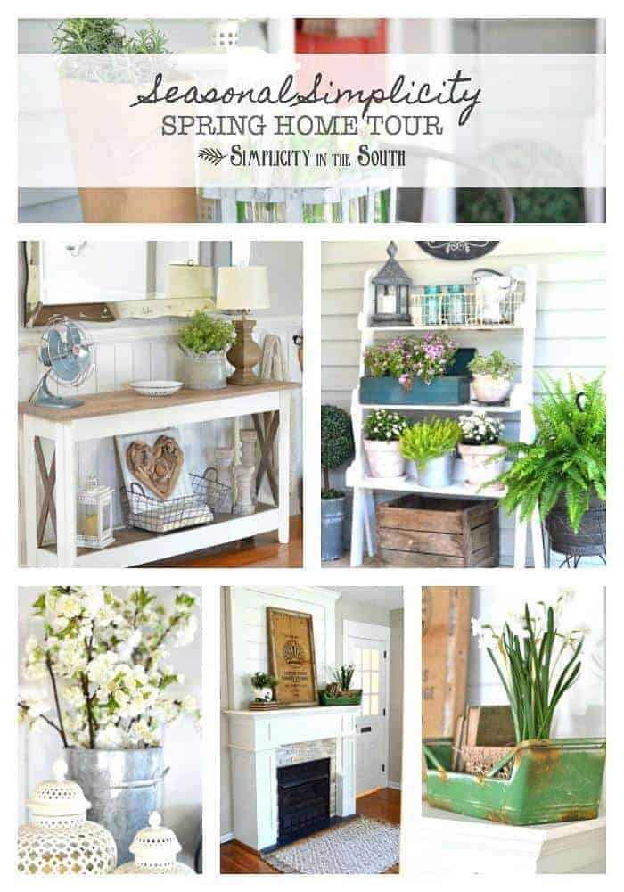 Simple and inexpensive ways to add spring touches to your home are shown in this Seasonal Simplicity spring home tour by Simplicity in the South