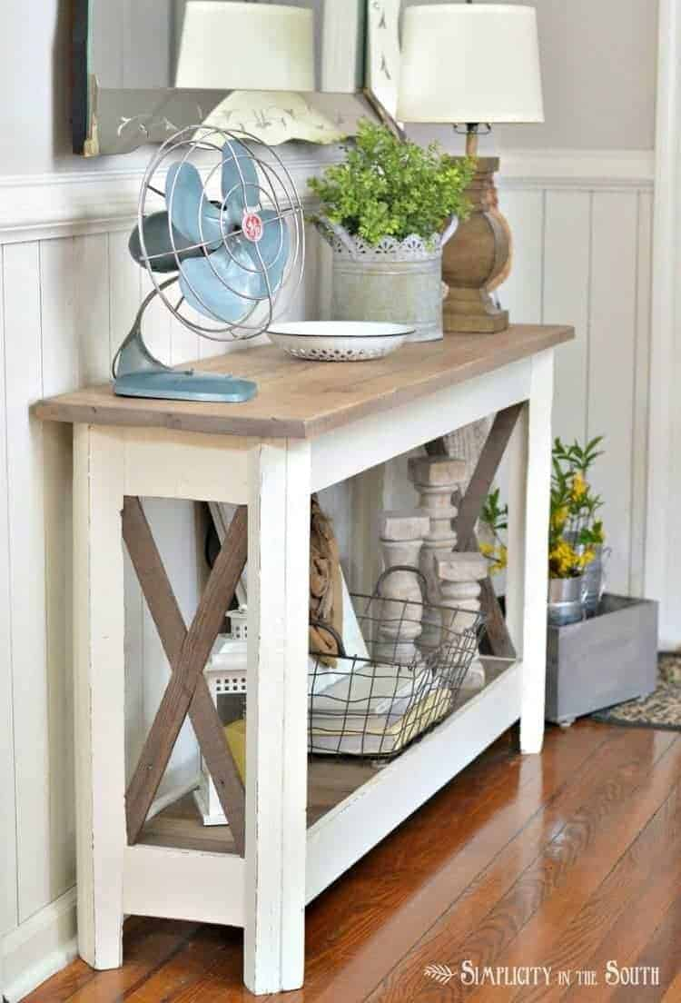 Seasonal Simplicity Spring Home Tour- x-detail entry way table