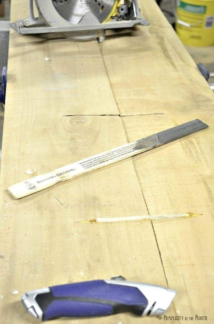 Tools needed to make a DIY live edge countertop out of salvaged barn wood planks