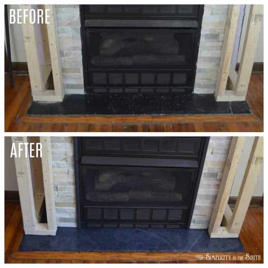 Before and after using soapstone paint technique on fireplace hearth
