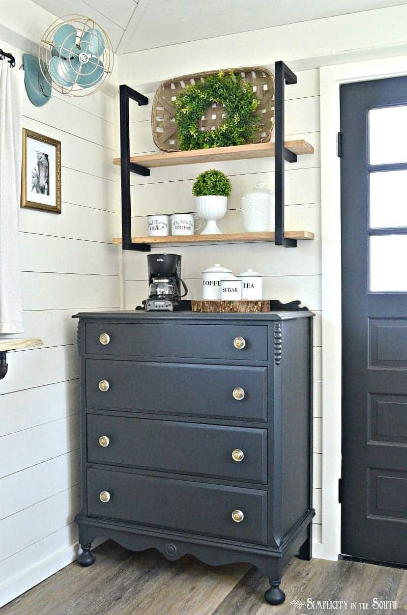 Coffee bar for the cottage guest shed with modern farmhouse industrial shelf brackets and barnwood shelves