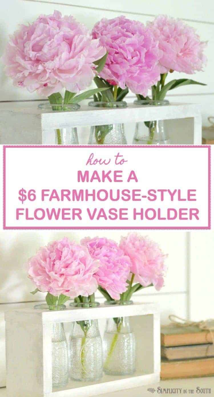 You can make this DIY wooden vase holder for $6 using milk bottle vases from the Dollar Tree. A video tutorial on this easy Dollar Tree craft is included.