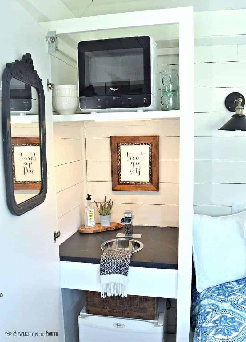 The Cottage Guest Shed Reveal the kitchenette