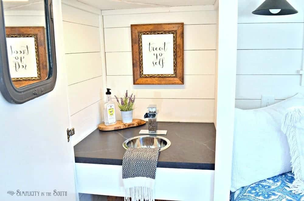 Treat yo self The kitchenette in the cottage shed