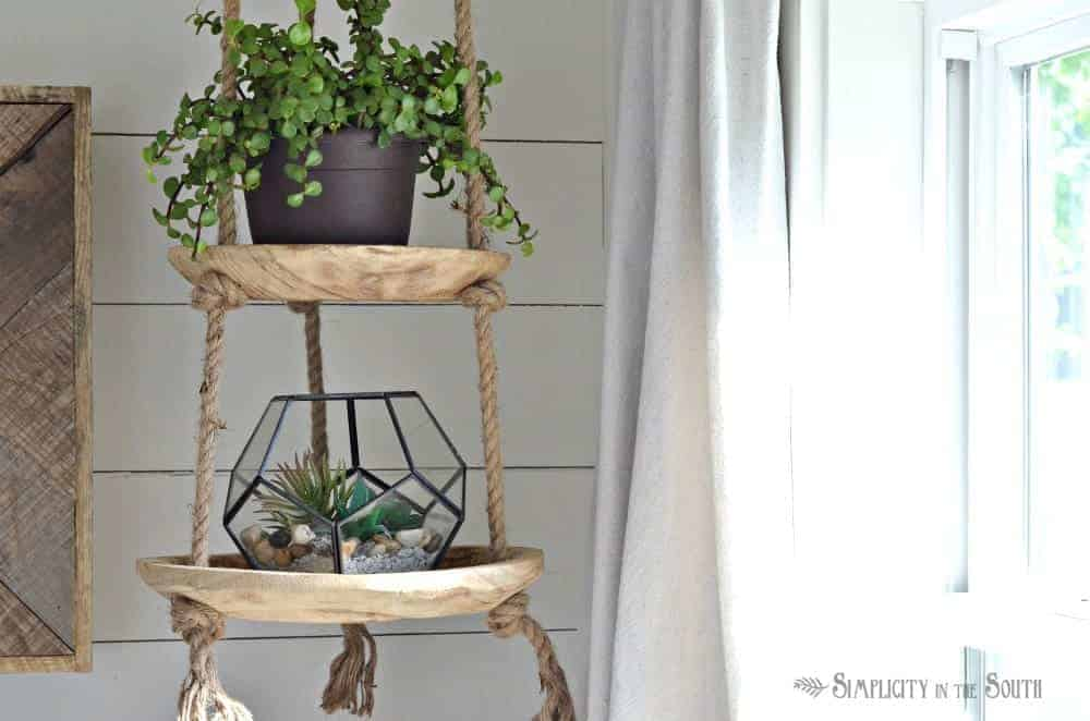 geometric glass terrarium and hanging planter