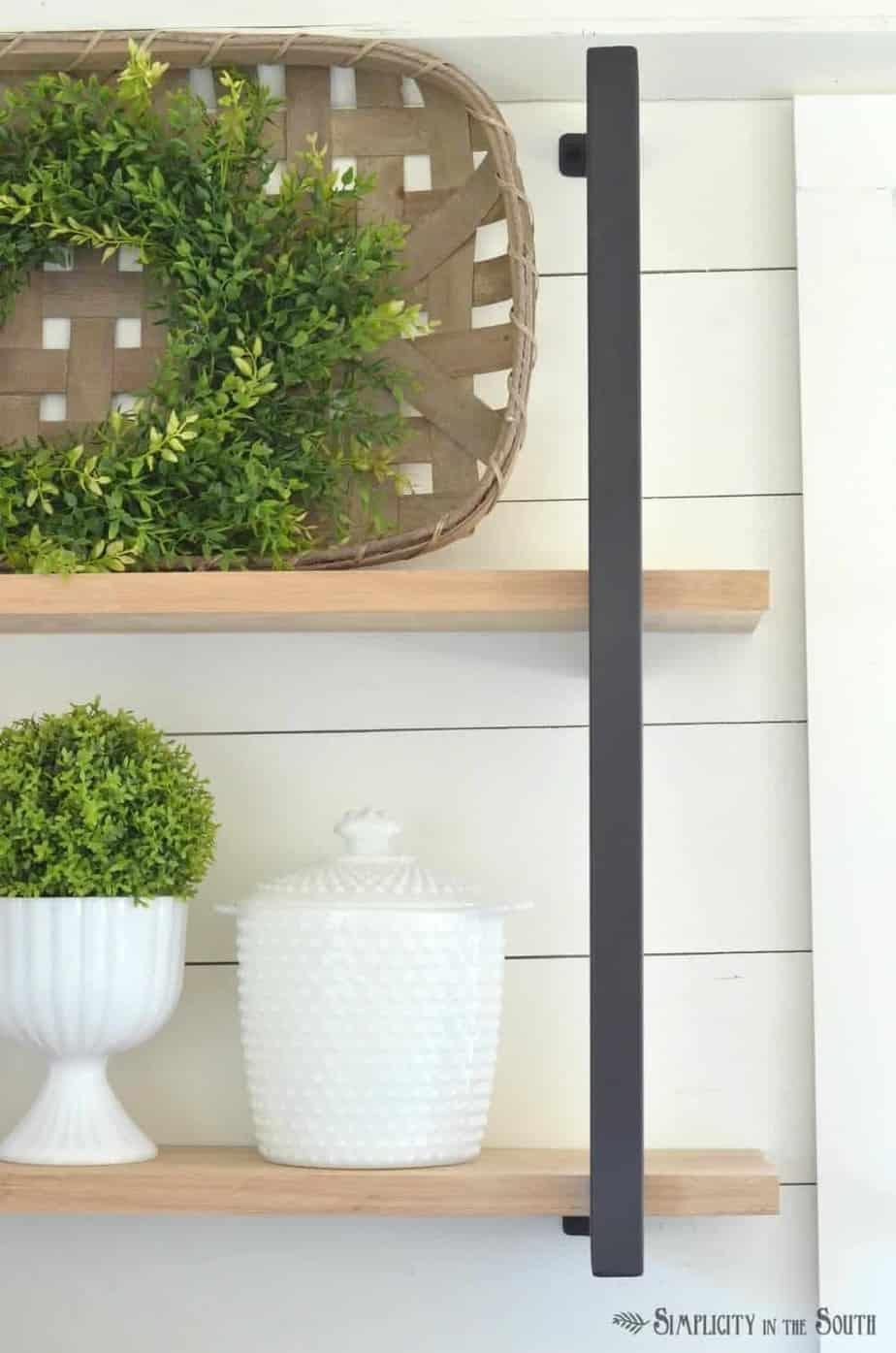 Farmhouse shelf brackets and barn wood shelves