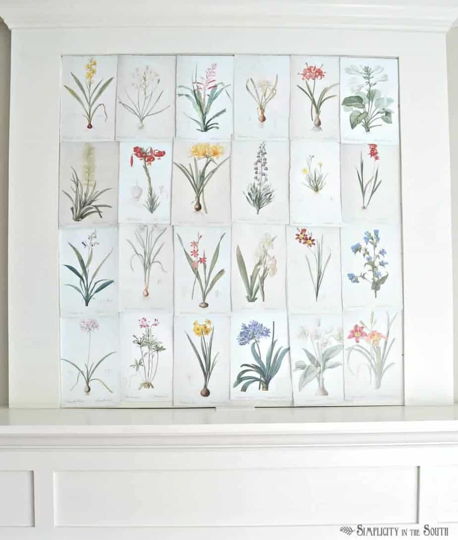 25 free vintage botanical illustrations to download and print. Such a simple way to decorate over the fireplace mantle for spring or summer.