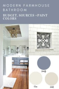 the modern farmhouse master bathroom paint colors and source list