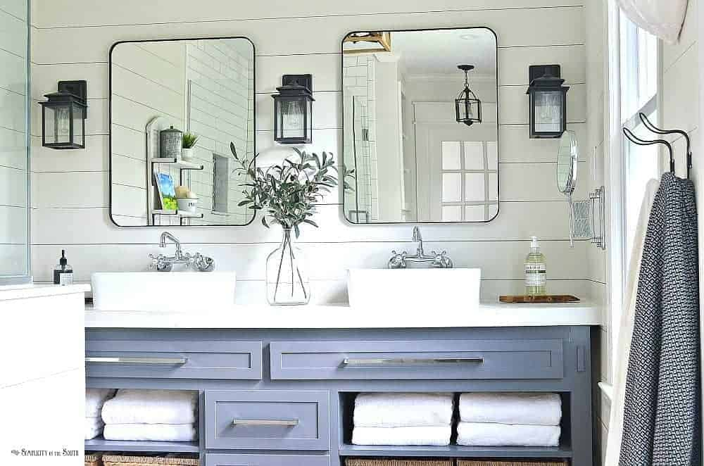 The Modern Farmhouse Master Bathroom Reveal Turning A Bedroom Into A Bathroom Simplicity In The South
