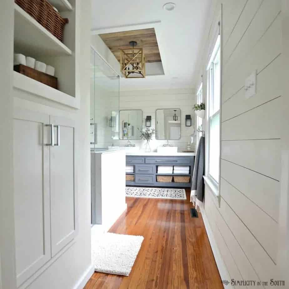 Modern farmhouse master bathroom remodel a bedroom is turned into an en suite bathroom on a budget