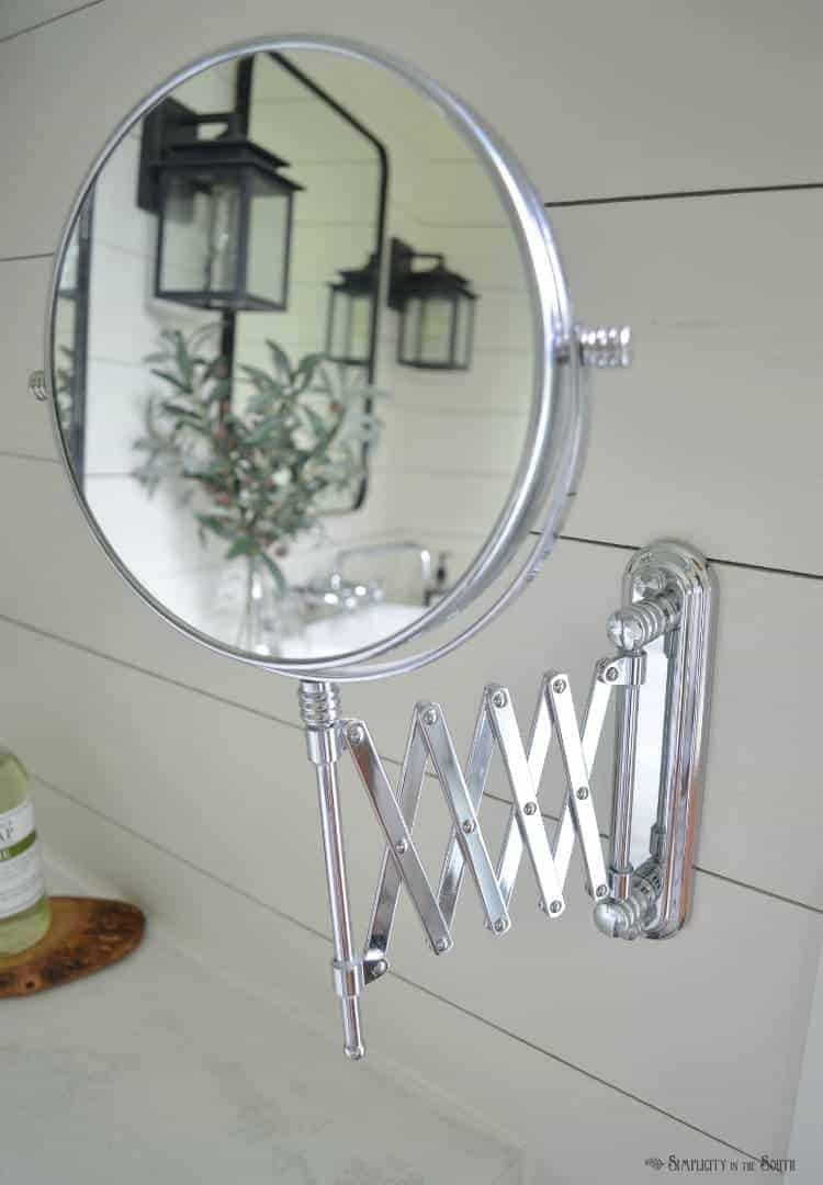 wall mounted extension chrome makeup mirror