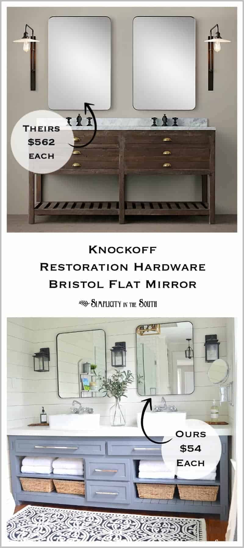 Love this!!! DIY Restoration Hardware Inspired Bristol Flat mirror