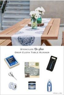 DIY no-sew drop cloth mandala stenciled table runner