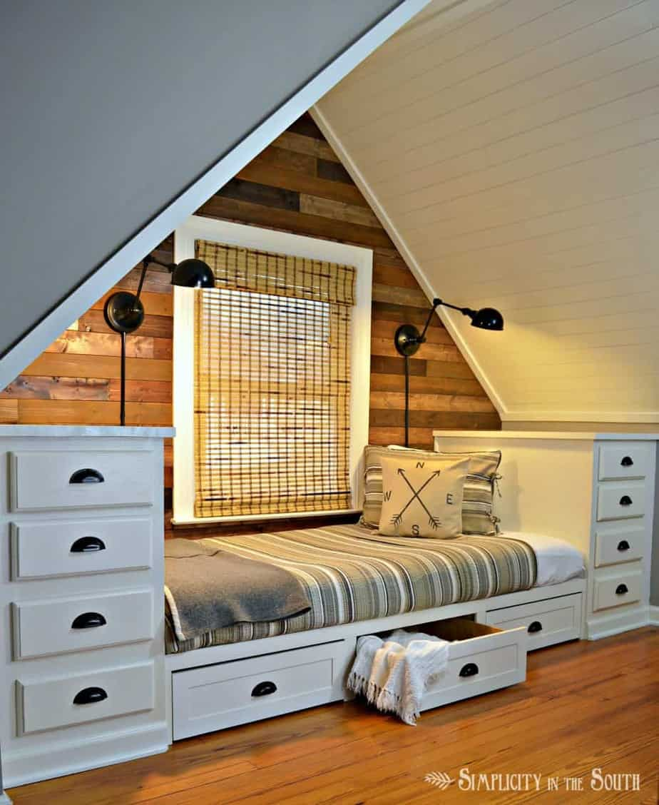 Build this cozy built in bed with stock kitchen cabinets. Add trundle drawers for more storage