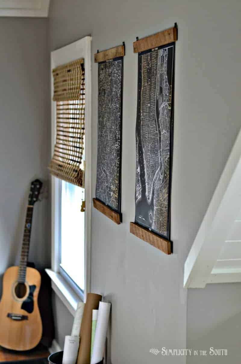 Restoration Hardware inspired lithrograph maps. How to hang a poster or picture using wood lath and d-ring hangers.