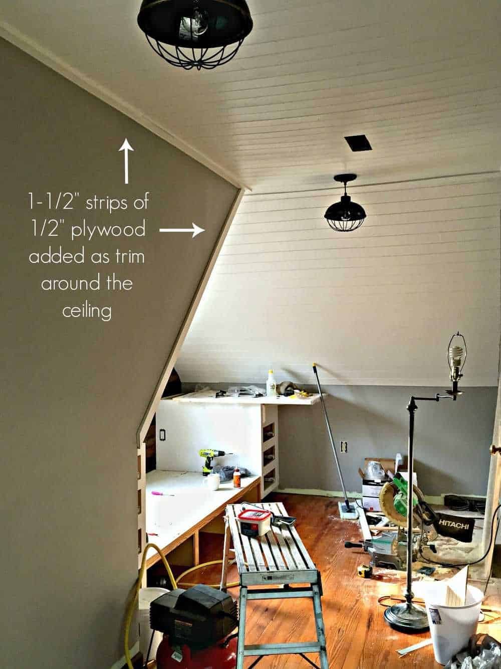 shiplap or planked ceiling tutorial