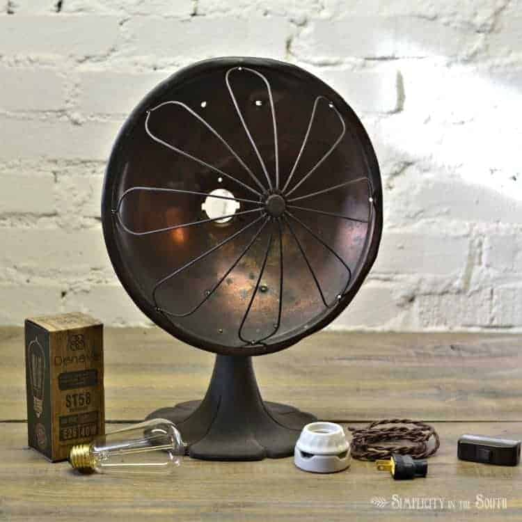 supplies-needed-to-convert-a-vintage-desk-heater-into-a-lamp