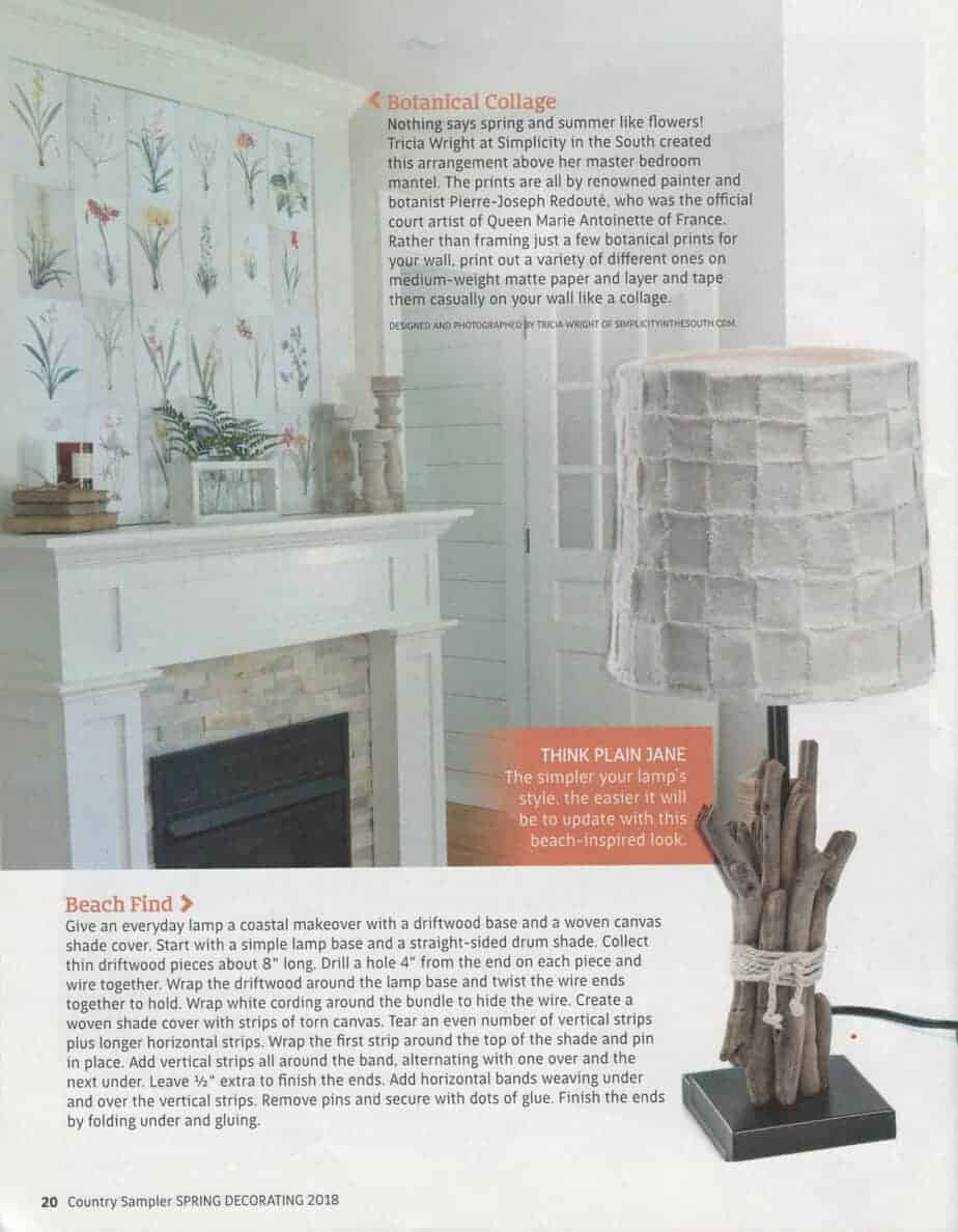 Botanical prints above fireplace as featured in the Spring 2018 edition of Country Sampler
