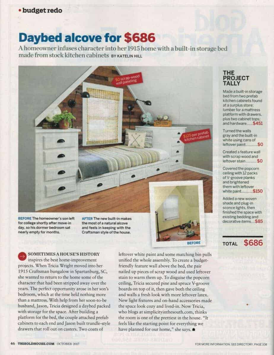 This Old House Magazine October 2107 Budget Redo of the Daybed Alcove