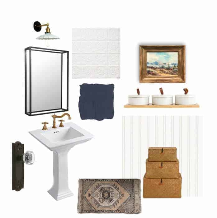 Powder room design board vintage modern