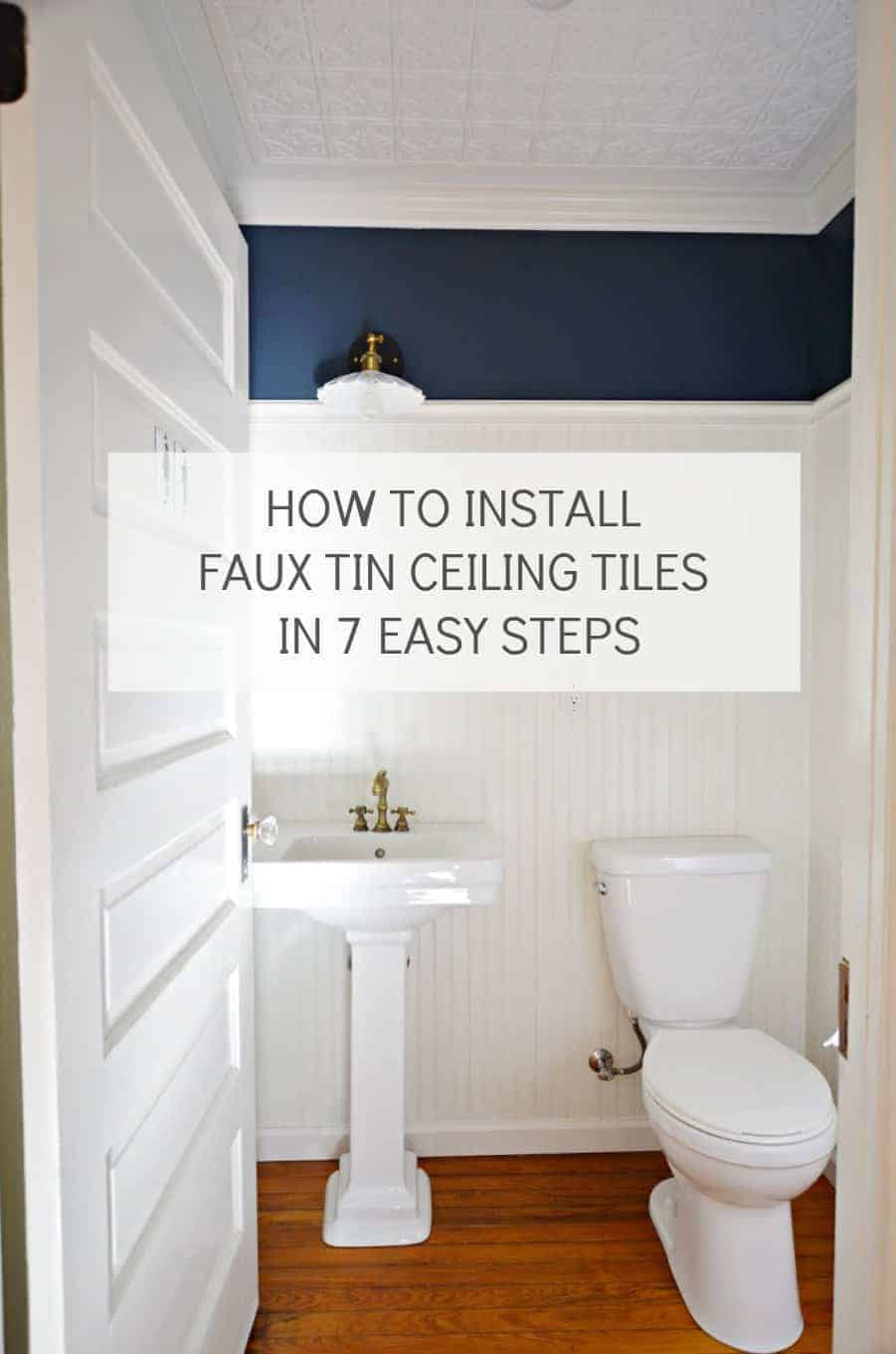 How to install faux tin ceiling tiles in 7 easy steps / According to the top interior designers, statement ceilings are one of the hot design trends of the year. Adding a faux tin ceiling certainly adds a wow factor to a small room such as this powder room. You can even use it to cover popcorn ceilings.