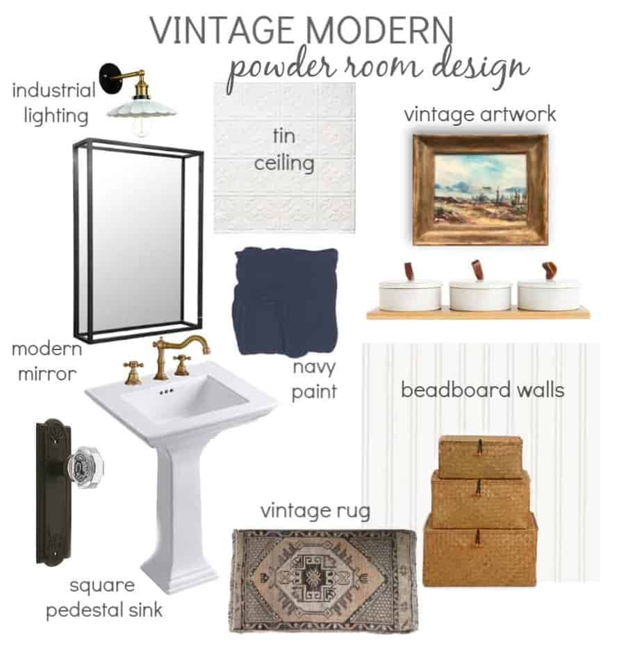 Vintage Modern Powder Room Design Board