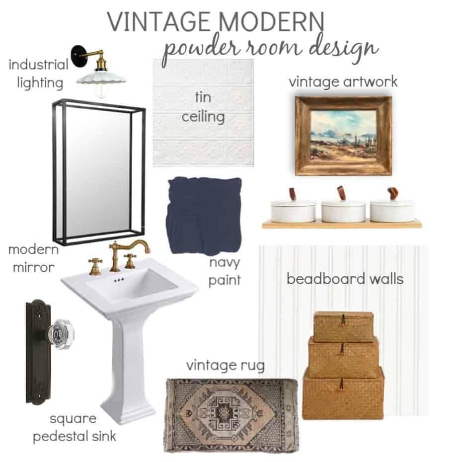 Vintage Modern Powder Room Design Board