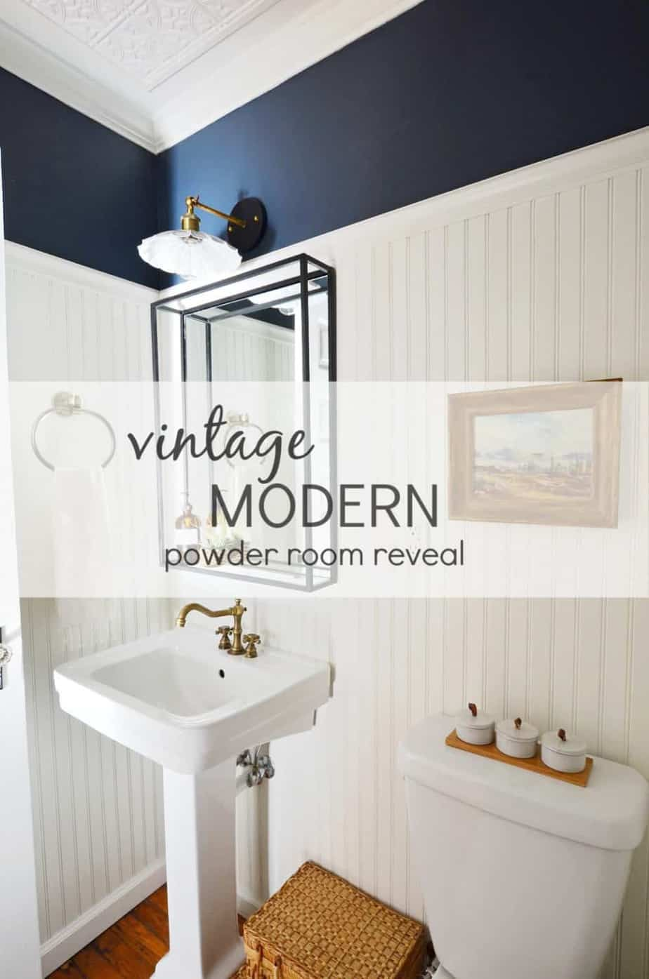 Vintage modern navy powder room reveal