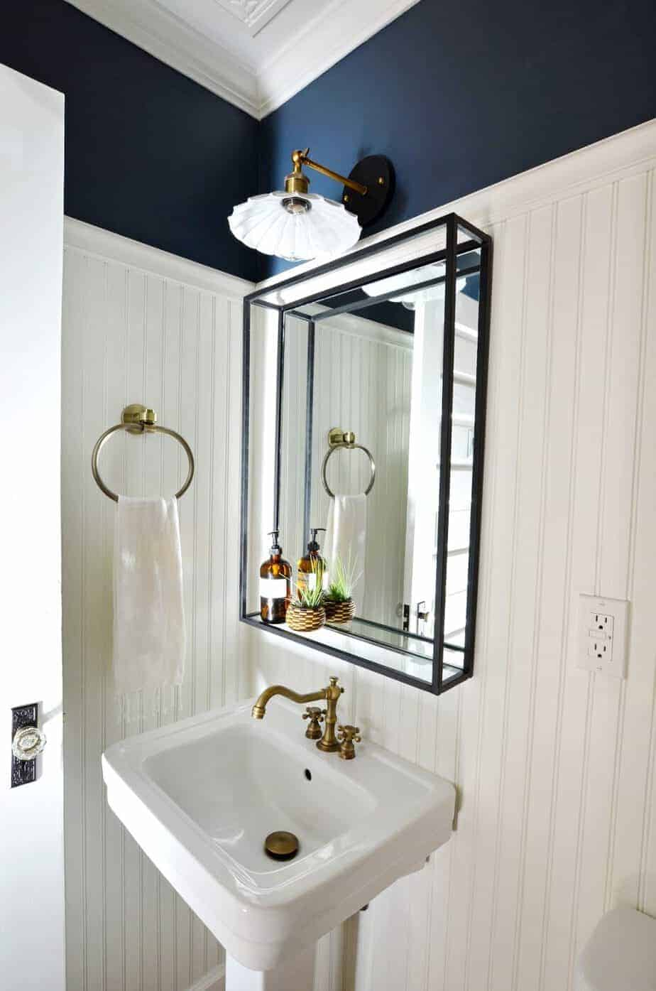 beadboard vintage modern powder room bathroom