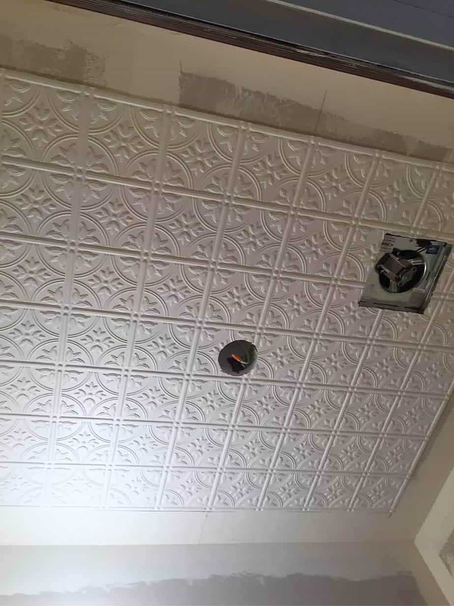 how to install a faux tin ceiling in a bathroom