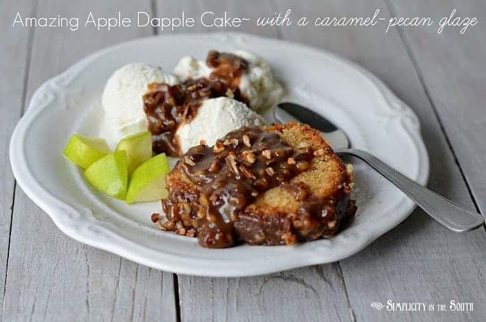 Amazing apple dapple cake with caramel pecan glaze