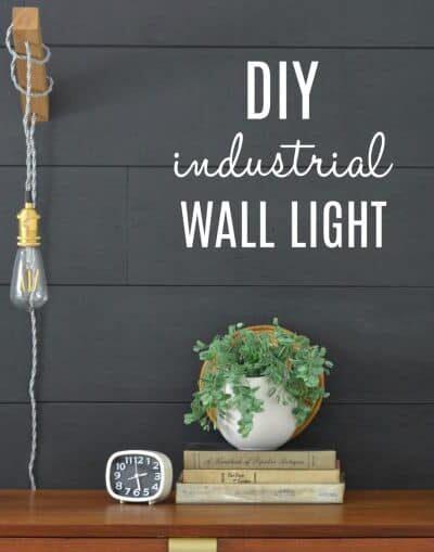 DIY industrial minimalist wall light