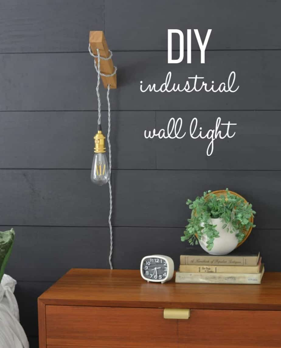 DIY wooden wall sconce light