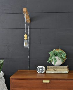 DIY wooden wall sconce light