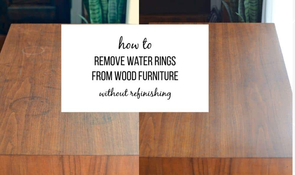 How to remove white and black water ring stains from furniture by using a common household cleaner and Howard's Restore-a-Finish when you don't want to strip your furniture. #waterrings
